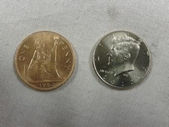 Copper Silver   Half Dollar and Old English Penny